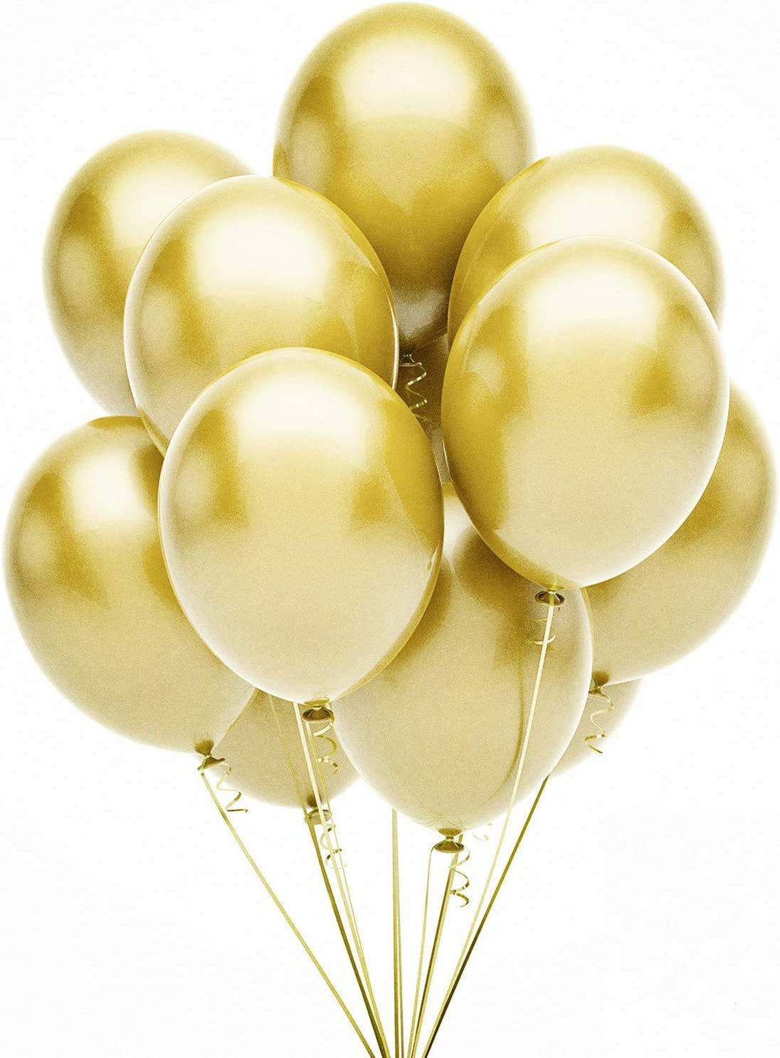HDLJD Gold Balloons, 12 Inch Gold Metallic Latex Balloons for Happy Birthday Baby Showers Bridal Shower Wedding Party Decorations - 50PCS