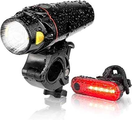 USB Rechargeable LED Bike Front Rear Light Set Headlight Taillight Lamps A+