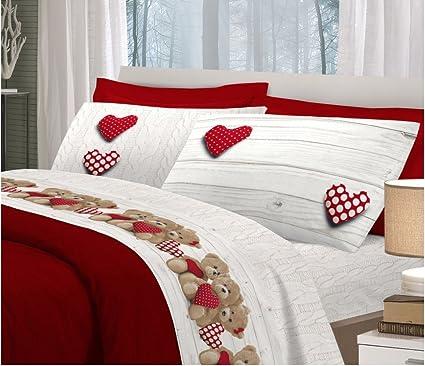 Lenzuola Matrimoniali Di Alta Qualita.Completo Lenzuola Flanella Matrimoniale Orsetto Cuore Rosso Alta