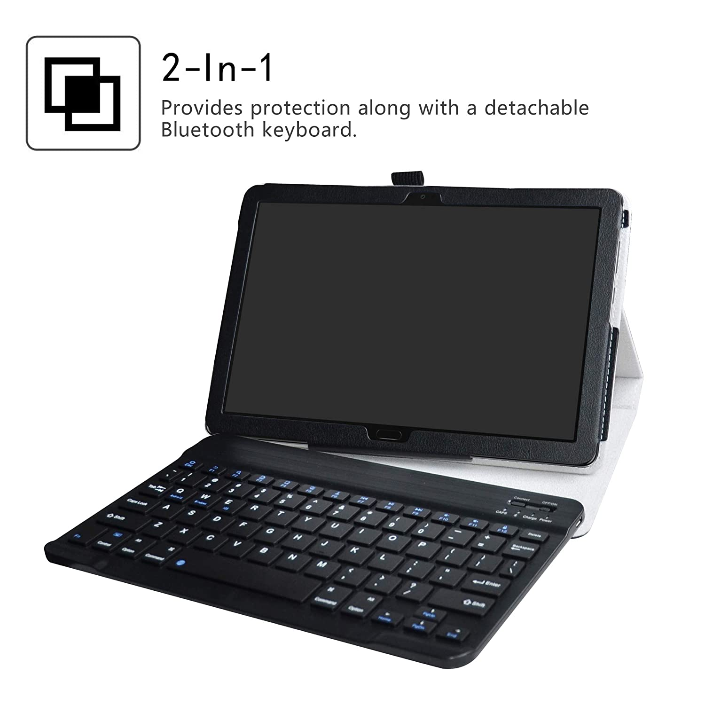Detachable Wireless Bluetooth Teclado LiuShan MediaPad M5 Lite Bluetooth Teclado Funda Teclado QWERTY Formato ingl/és PU con Soporte Caso para 10.0 Huawei MediaPad M5 Lite 10 Android Tablet,Rojo