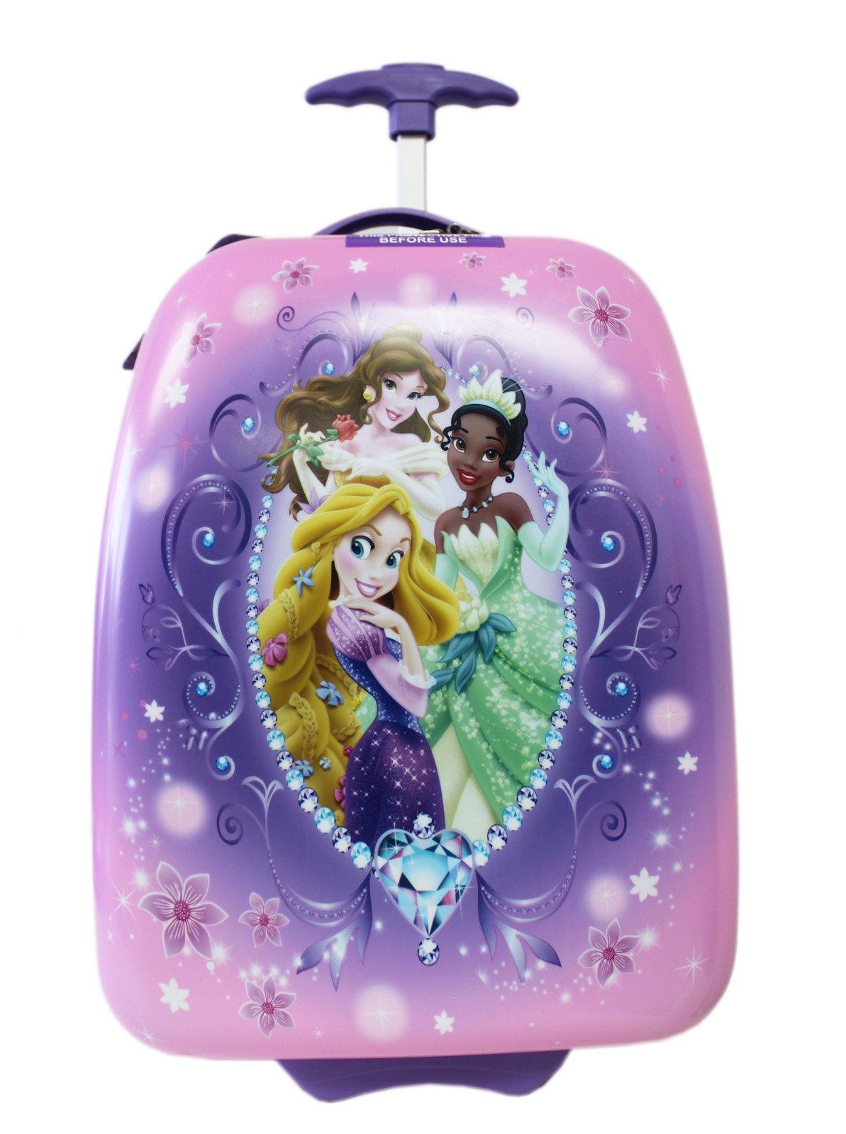 Disney Princess Tiana, Rapunzel, and Belle Pink/Lavender Kids Luggage (16in)