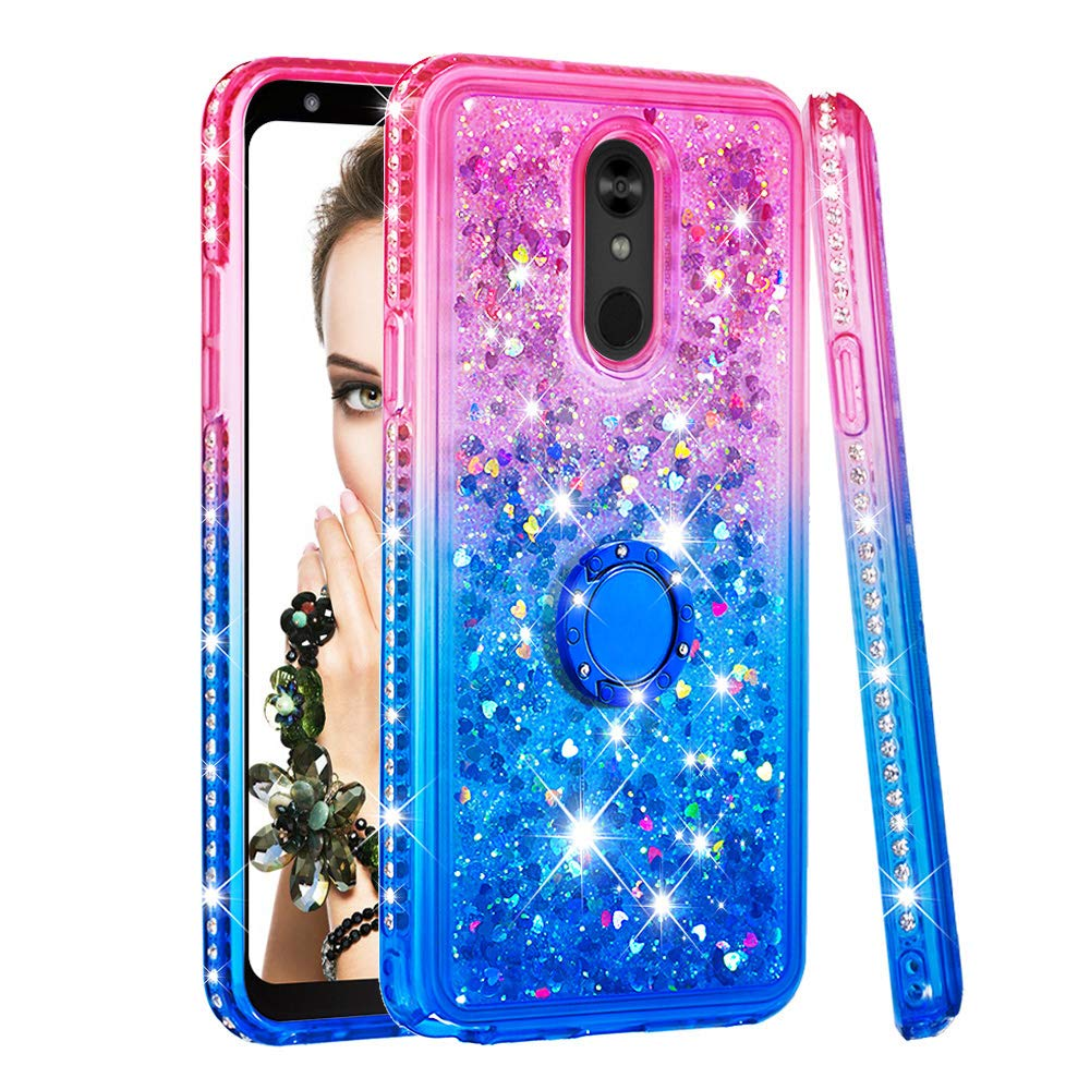 LG Stylo 5 Case, Dooge Moving Liquid Luxury Diamond Glitter Crystal Case with Ring Stand Holder, Protective Shockproof Sparkly Quicksand Case for Women Girls for LG Stylo 5