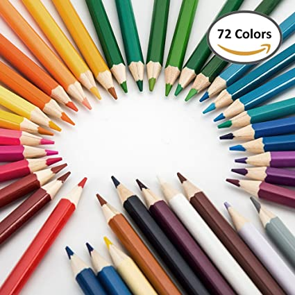 Seacan 72 Colors Colored Pencils,Best Oil Based Colored Pencils For Adult  Coloring Books -Sharpened ,For kids Drawing Paint