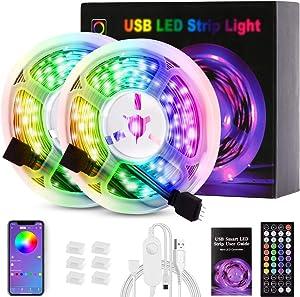 LED Strip Lights, USB LED Color Changing Strip Lights 32.8ft with Remote 44 Keys Bluetooth app Control, LED Lights Strips for Bedroom, Home Decoration, TV Backlight, Kitchen, Bar