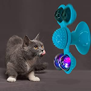YUTANG Interactive Cat Catnip Toy for Indoor Cats, Windmill Catnip Toy Funny Kitten Toys Cat Toothbrush Toy Cats Hair Brush Turntable Massage Scratching Tickle Toy with Suction Cup