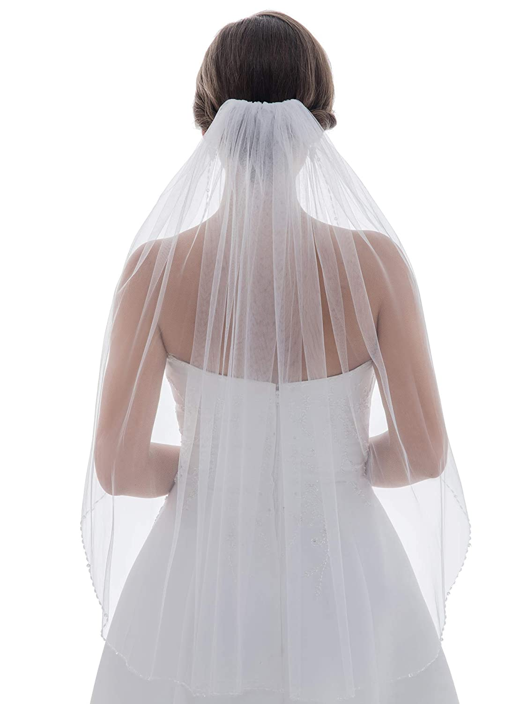 1T 1 Tier Bugle Crystals Beaded Wedding Veil Elbow Length 30