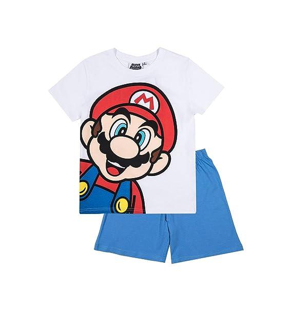 Mario Bros - Pijama dos piezas - para niño blanco/azul 9 años