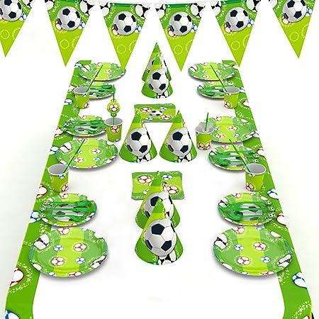 decalmile 146 Piezas Vajilla Diseño de El fútbol para 16 Niño Decoración de Fiesta de Cumpleaños (Platos, Tenedores Cucharas Cuchillos, Vasos, ...