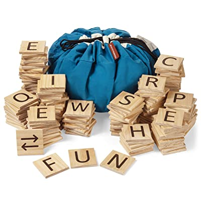 New GIGANTAGRAMS Ultimate Word Game - 146 Giant Size Wooden ABC Tiles - Indoor & Outdoor - Group Events, Parties, Holidays, Bbqs, Reunions - Practice Spelling, for Schools, Educational Fun, GetMovin!: Toys & Games