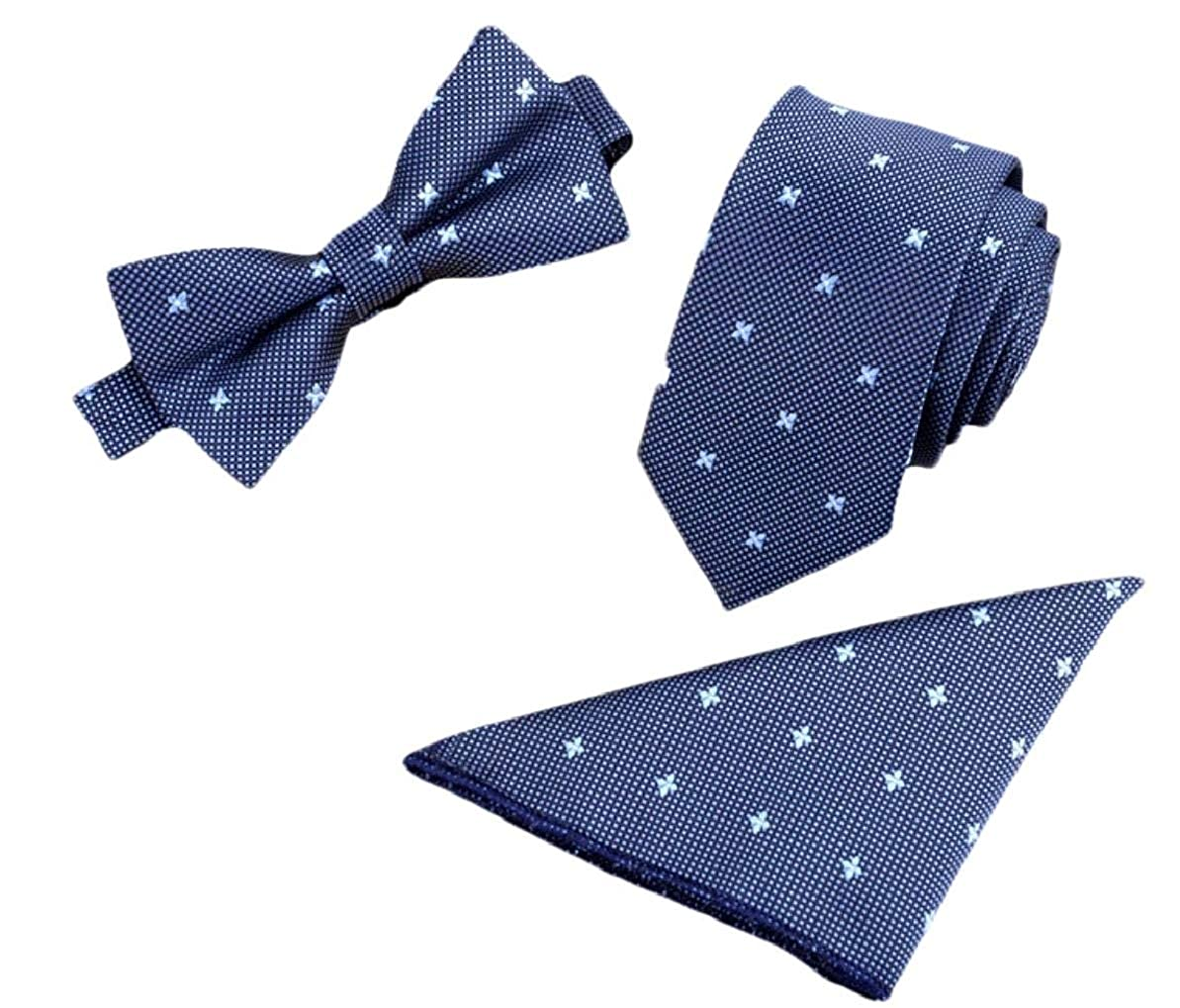 Zimaes Mens Set 3-Piece Modern Bowtie Pocket Square Stripes Ties Necktie
