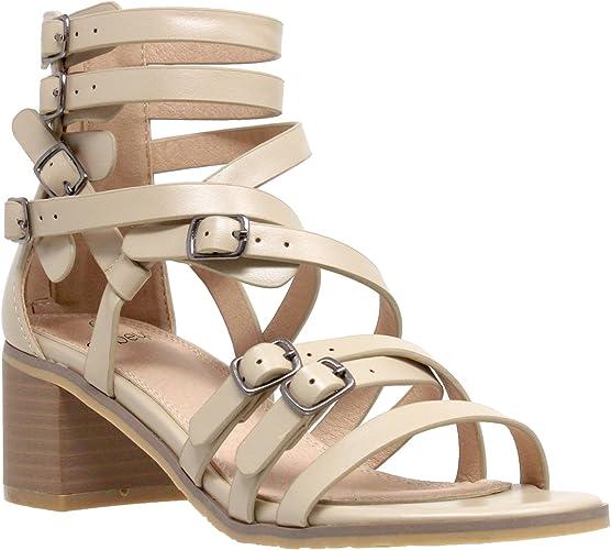 Womens Low Heels Sandals Strappy Buckle Accent Block Heel Gladiators Tan
