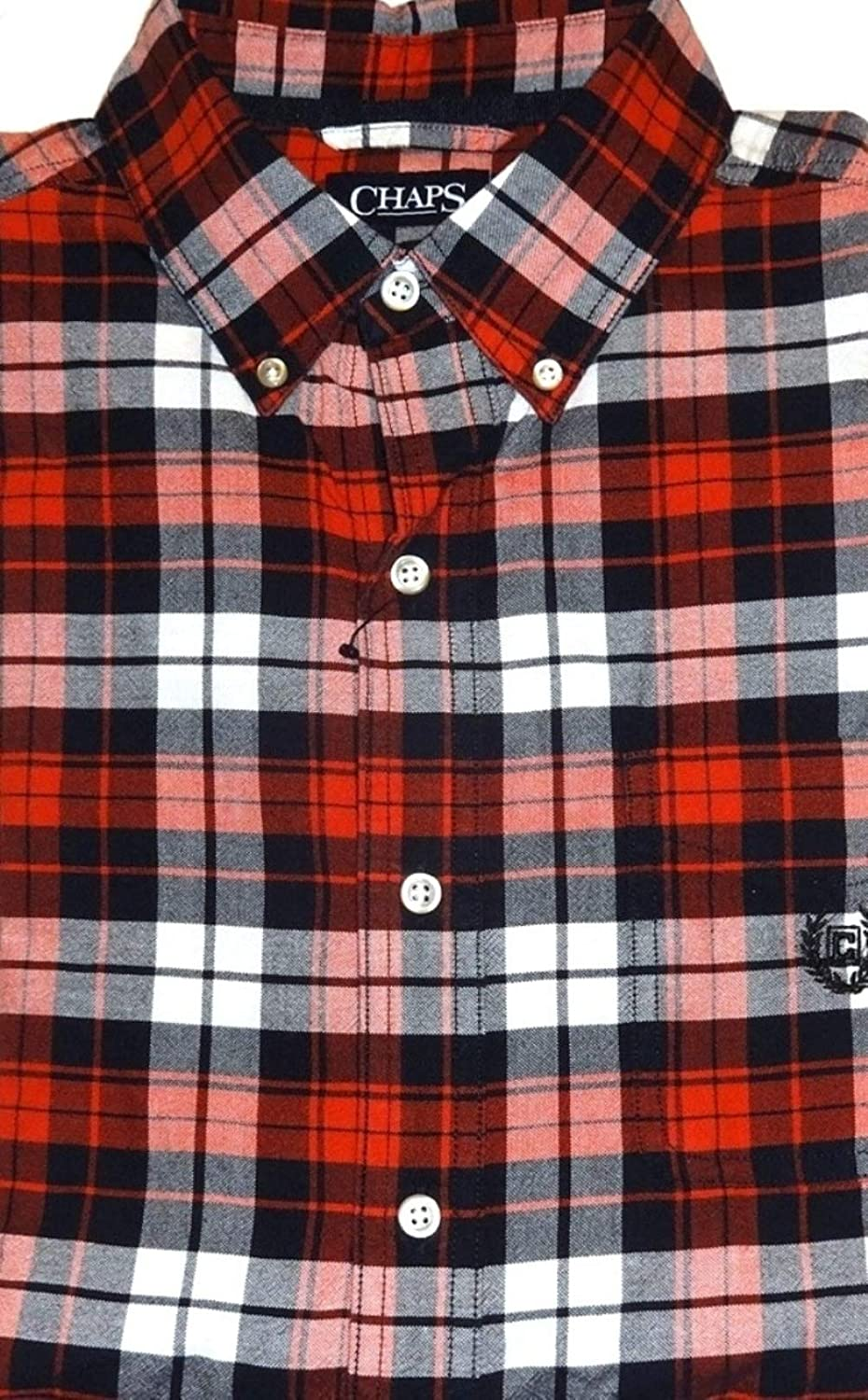 Chaps Mens Classic Fit Button Down Oxford Shirt Red Brick