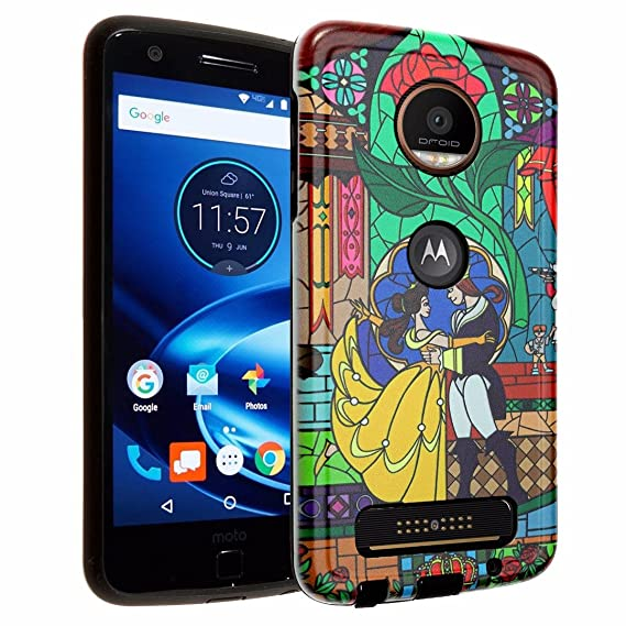 Moto Z Play Case, IMAGITOUCH 2-Piece Style Armor Case with Resilient TPU Shock Absorption Case and Beauty and the Beast Design Hard Cover Case Hybrid ...
