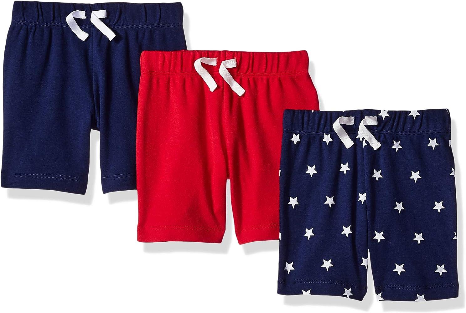 Amazon Essentials - Pack de 3 pantalones cortos con cintura elástica para niño, Uni Americana, Bebé prematuro, 40 cm: Amazon.es: Ropa y accesorios