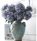 Helen Ou@ 1 Bunch 6 Heads Artificial Hydrangea Bridal Bouquet Silk Flowers Arrangement for Home Decor or Wedding Decoration Blue