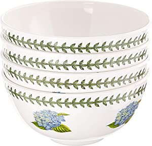"Portmeirion Botanic Garden Set of 4 Melamine Bowls, 6"", 6"", White"