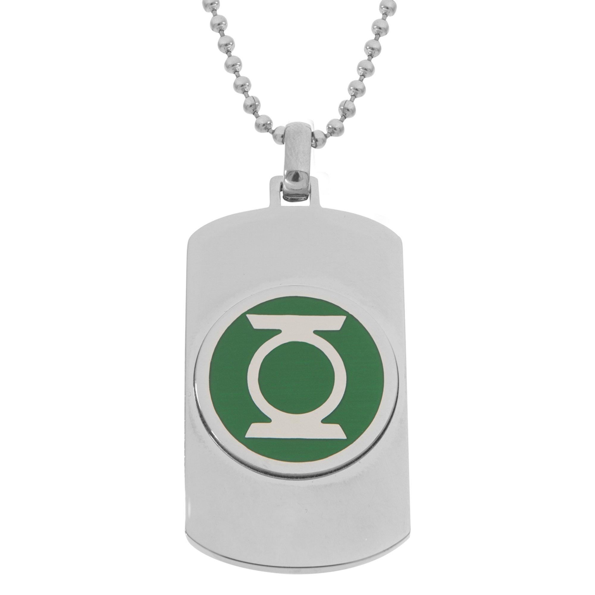 DC Comics Green Lantern Superhero Logo Stainless Steel Dog Tag Pendant Necklace, 22''