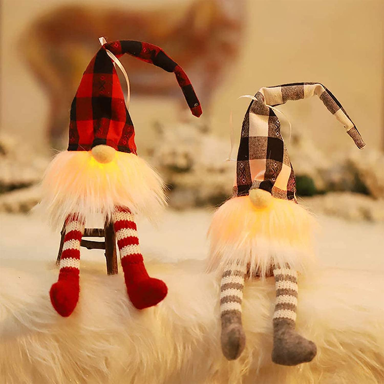 Joatiy Christmas Gnome LED Lights,Glowing Dwarf Doll Plush Pendant,Handmade Christmas Dwarf Lights,Christmas Toy Gift Christmas Tree Pendant Decoration,Home Decoration Office Decoration 2 Pack