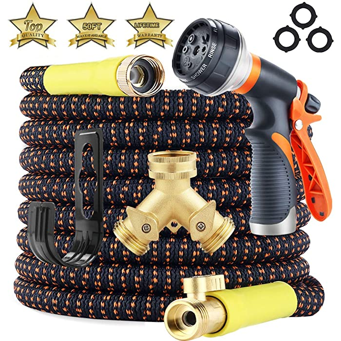 [Upgraded 2019] Garden Hose 50ft Expandable - Superior Strength 3750D | 4-Layers Latex | Extra-Strong Brass Connectors | 8-Way Durable Water Spray Nozzle, 2-Way Pocket Flexible Splitter (50 FT)