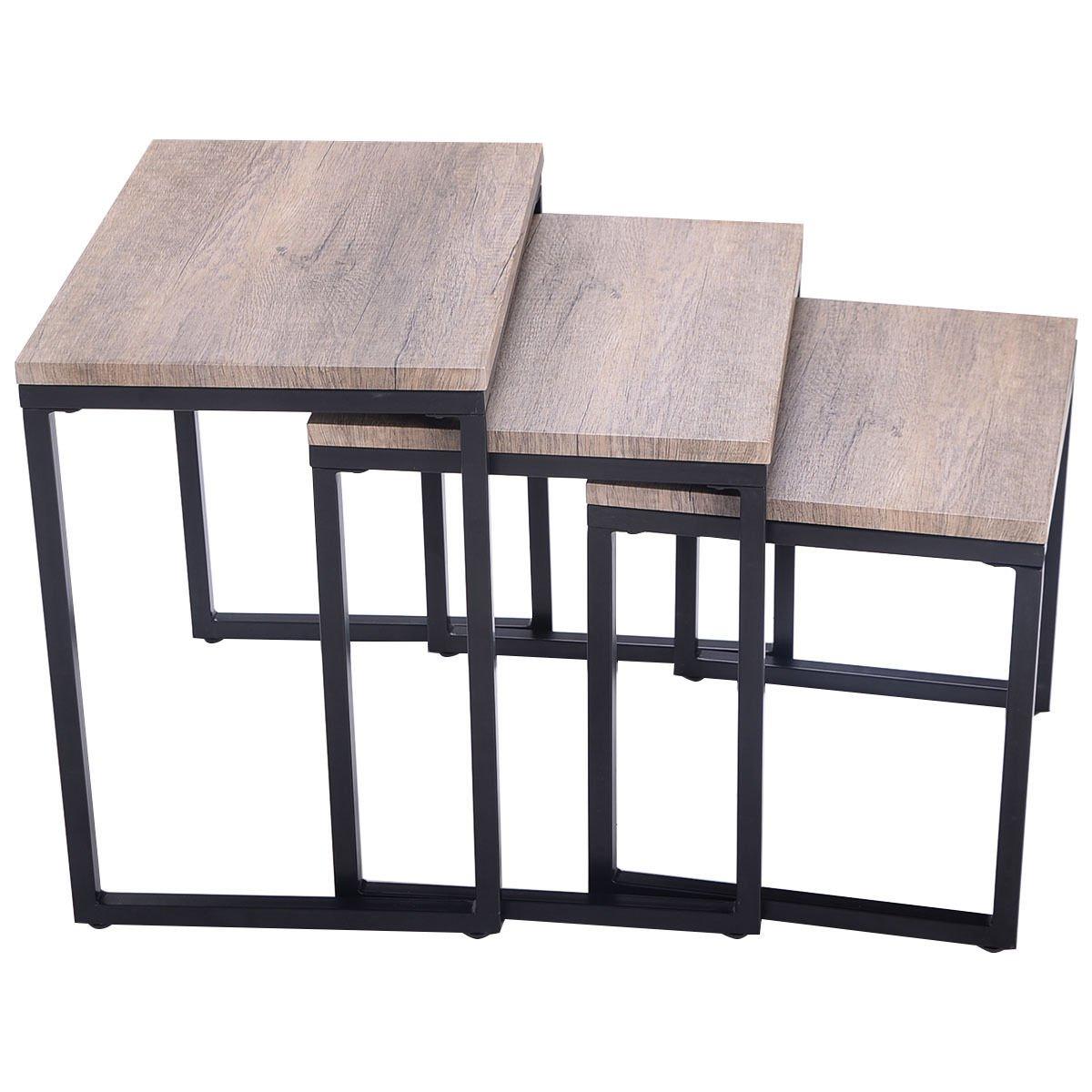Amazon.com: Giantex 3PC Stacking Nesting Coffee End Table Set Living ...