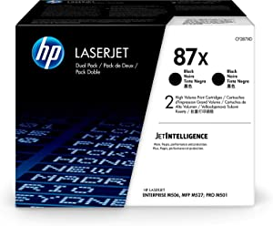HP 87X | CF287XD | Toner Cartridges | Black | High Yield, Pack of 2