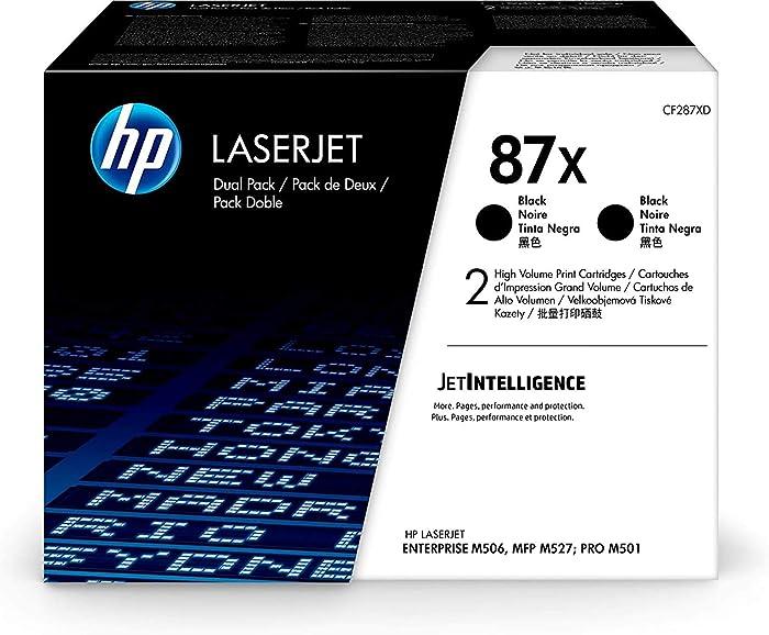 HP 87X | CF287XD | Toner Cartridges | Black | High Yield, Pack of 2