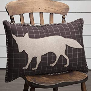 VHC Brands Rustic Bedding Wyatt Cotton Appliqued Chambray Nature Print Rectangle Cover Insert Throw Pillow, 14x22, Tan Fox