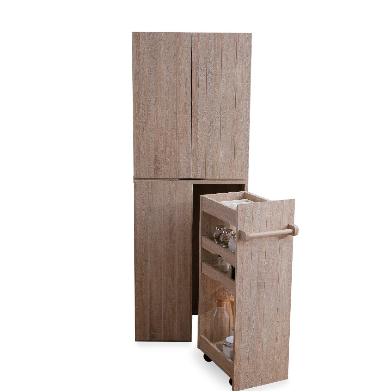 食器棚 キッチンボード 木目調 目隠し収納 大容量 可動棚 ワゴン 収納 トレー付 タオルも掛けれる キャスター 上段B+下段Bタイプ オーク 新生活 B077YCQN72 セット(上段B+下段B) オーク オーク セット(上段B+下段B)