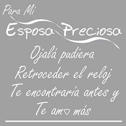 I Love My Wife Wall Decal Pledge-Espanol Para Mi Esposa Preciosa-a WHITE