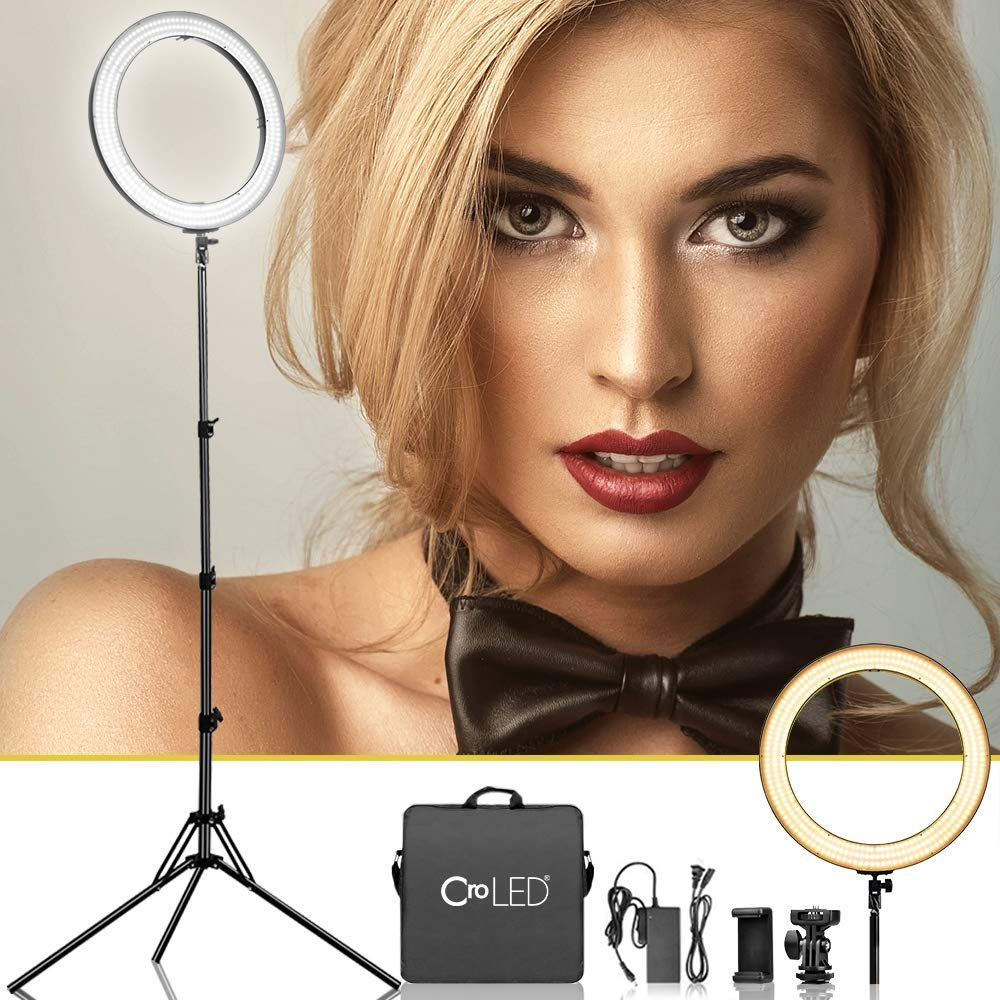 Dimmable 18 Inch Makeup LED Ring Light - 3200-5600K Warm to White Soft Light w/LCD Display for Precise Adjustment, USB Power Output, Camera Phone Holder &Carrying Case for Selfie YouTube Studio Video by CroLED
