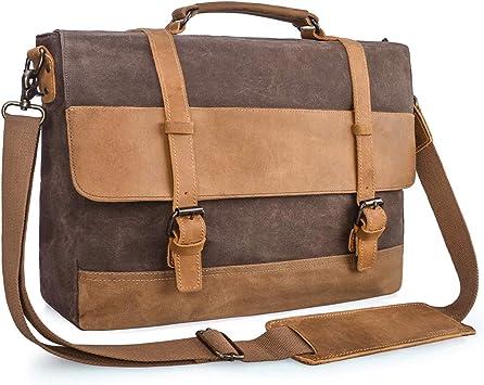 Vintage Leather Shoulder Satchel Briefcase Office Laptop Files Notes Books Bag
