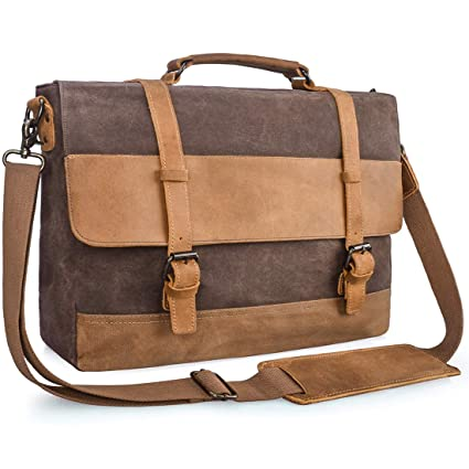 eaf7fd29b66c Mens Messenger Bag 15.6 Inch Waterproof Vintage Genuine Leather Waxed  Canvas Briefcase Large Satchel Shoulder Bag