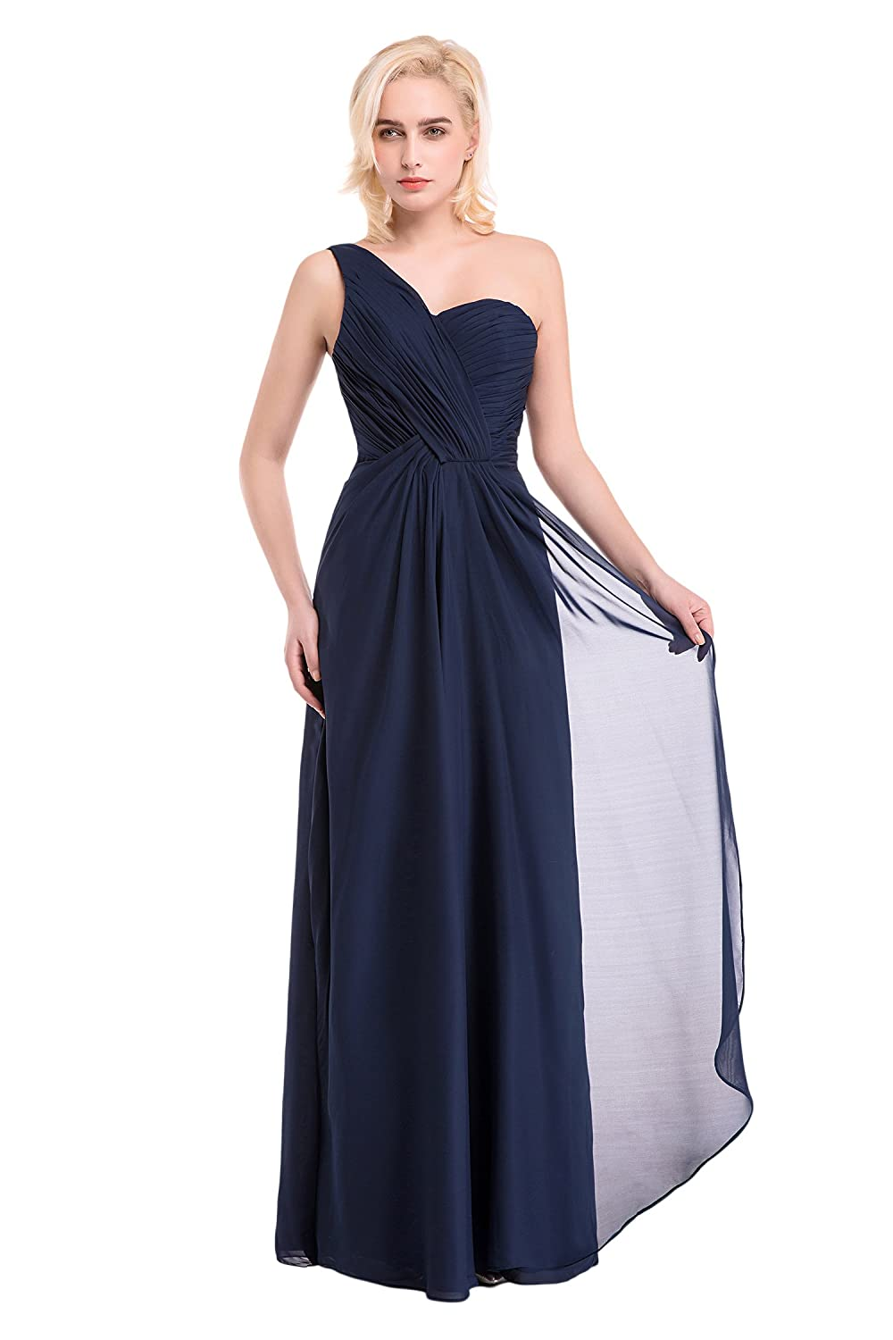 Bridal_Mall Women's One Shoulder Ruffles Evening Party Dress