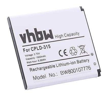 vhbw Li-Ion batería 1800mAh (3.7V) para teléfono móvil Smartphone Vodafone Smart