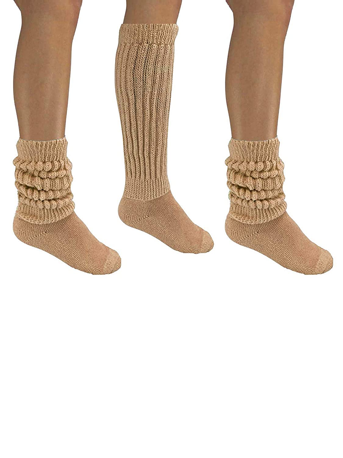 b9f5cff7f13 Amazon.com  Nude Beige All Cotton 3 Pack Extra Heavy Super Slouch Socks   Clothing