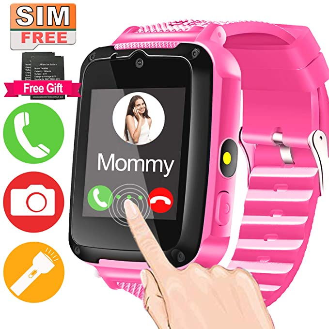 Kids Smart Watch Phone with FREE SIM Card & 2Pcs Batteries for 3-12 Girls Boys with 1.44 HD Touch Screen 2 Way Call Camera SOS Clock Game Flashlight ...