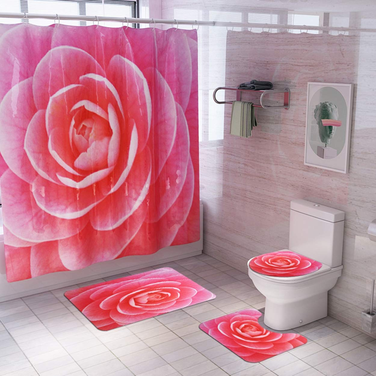 Z&S Shower Curtain + Carpet (Set of 4), Floral Pattern Modern Home Non-Slip Bathroom Mat 180 180Cm,Red