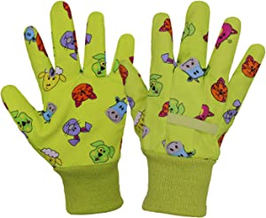 HANDLANDY Kids Gardening Gloves for Age 9-10, 2 Pairs Cotton Childrens Garden Work Gloves for Girls Boys, Large