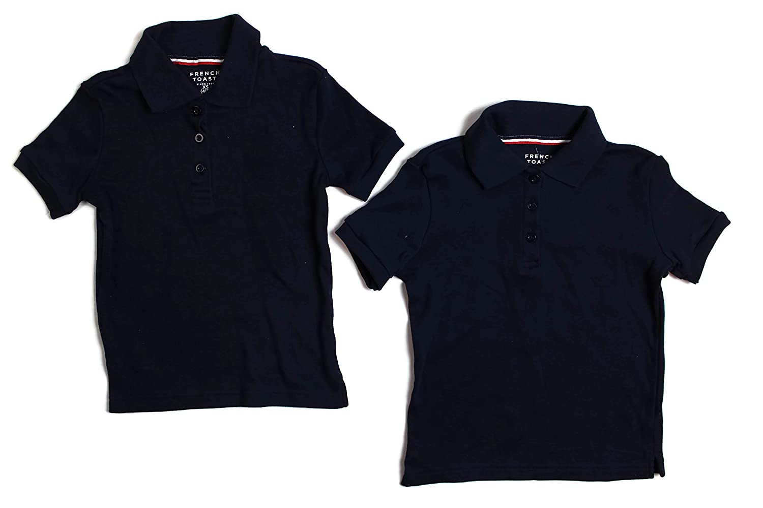 French Toast Boys Short Sleeve Shirt 2 Pack Polo's Navy)