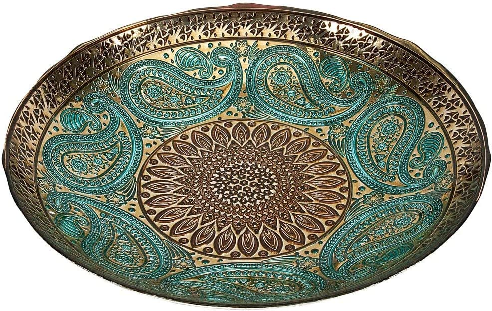 IMAX Paisley Glass Bowl – Decorative Bowl with Elegant Design, Food Safe, Graceful Motif. Decorative Accessories