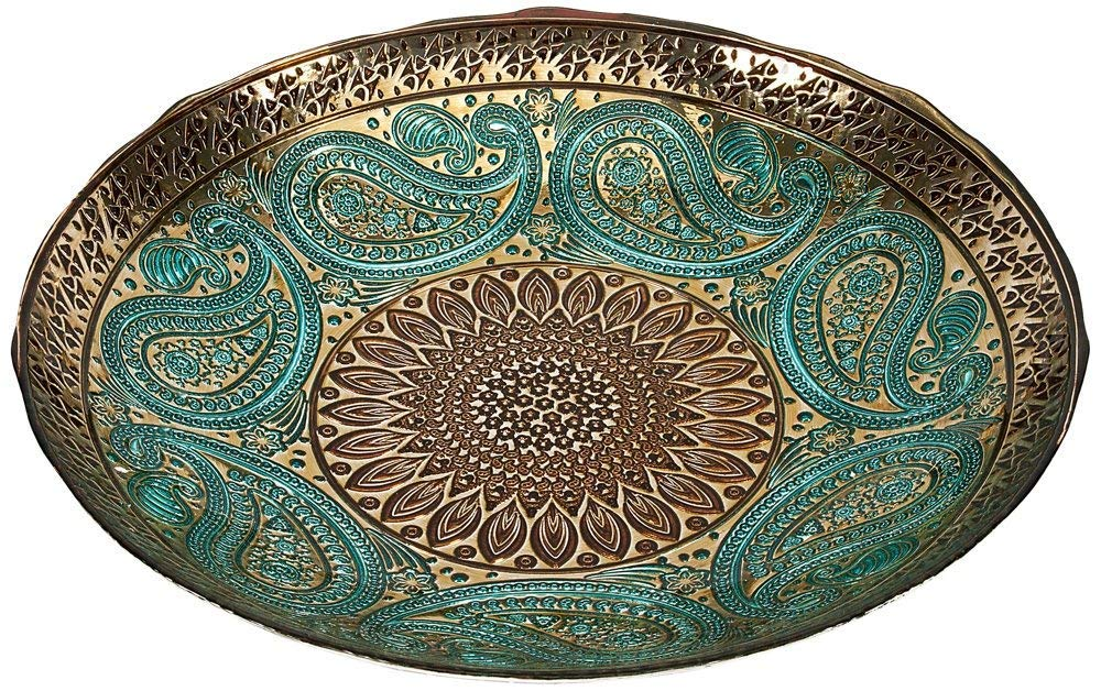 IMAX Paisley Glass Bowl - Decorative Bowl with Elegant Design, Food Safe, Graceful Motif. Decorative Accessories by Imax