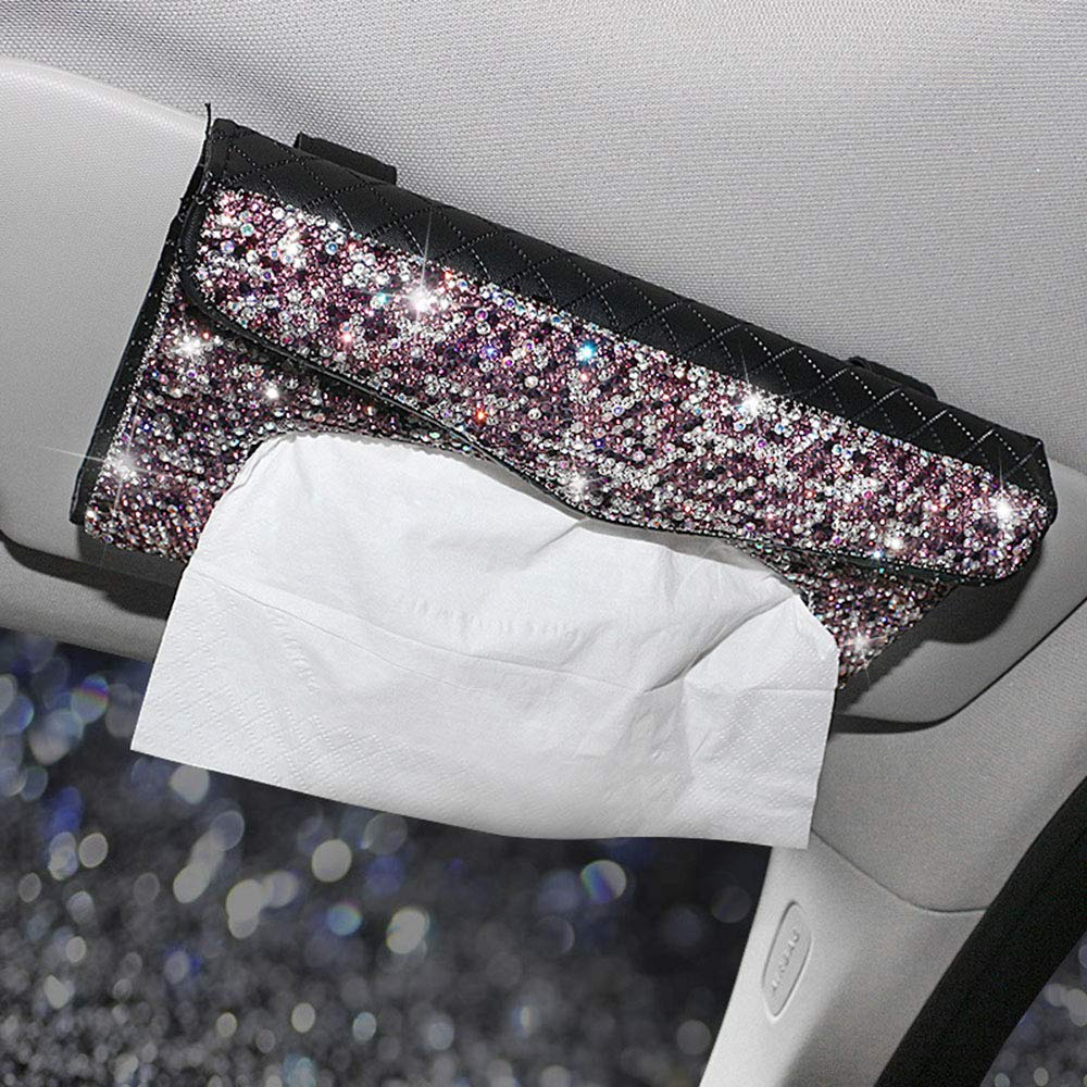 Dotesy Bling Bling Car Visor Tissue Holder Leather Crystals Paper Towel Cover Case for Women (Pink-New) by Dotesy