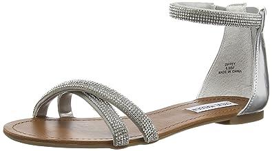 43f9154394 Steve Madden Zippey SM, Women Sandals, Silver, 7 UK (40 EU): Amazon ...