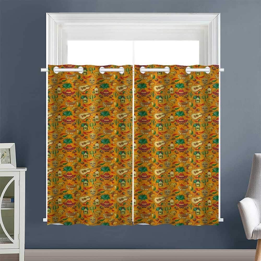 "Linhomedecor Fashion Darkening Curtains Cartoon Folklore Elements Grommets décor Darkening Curtains Privacy Assured Window Treatment Mexican Orange Multicolor (2 Pieces, 27.5"" Wide Each Panel)"