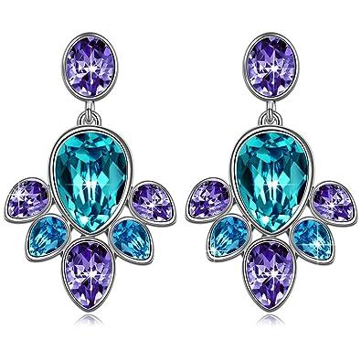 "J.NINA ""Blossom"" Flower Women Jewelry, Made with Swarovski Crystal, Water Drop Earrings"