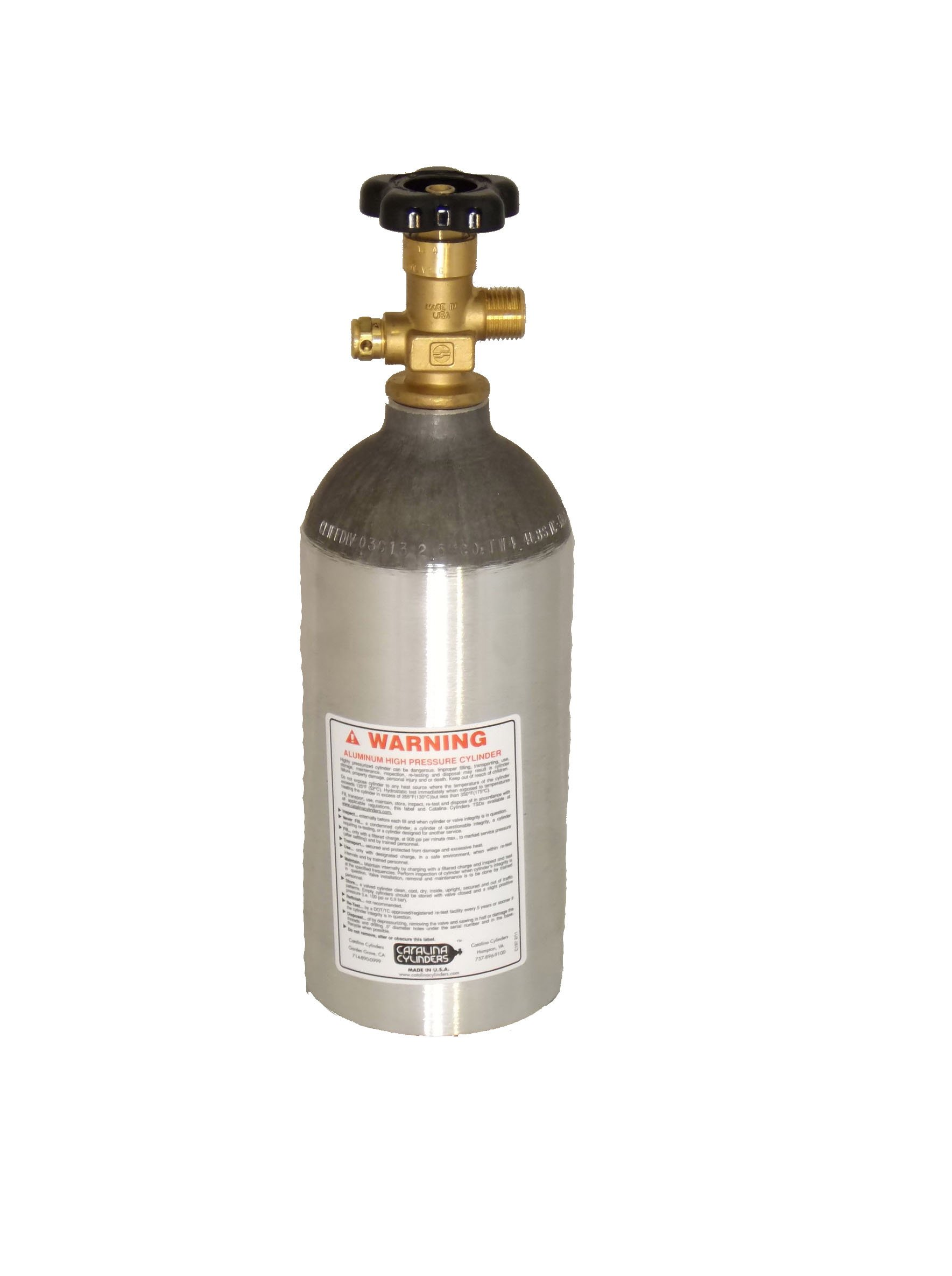CO2 2.5 Pound Aluminum Cylinder Tank New - Sherwood CGA 320 Valve, Bar Keg Draft Beer Tap Kegerator (Shipped Empty)