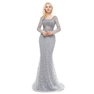 Leyidress Womnes Grey Pearl Lace Crystal Mermaid Evening Dresses Party Long Sleeve Prom Dresses Bridal Pageant