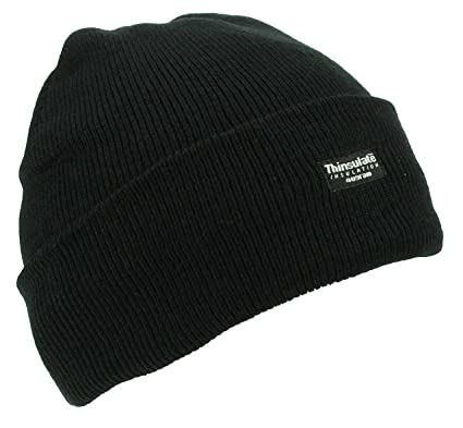 Thinsulate Knitted Hat - Black  Amazon.co.uk  Clothing 2a940774f2f