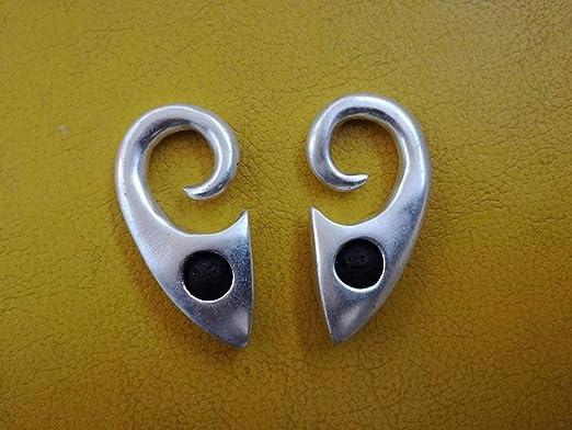 Pesos de oreja de pareja plateados plata con piedra lava - Dos pendientes dilataciones orejas, lóbulos estirados - Earrings Plugs