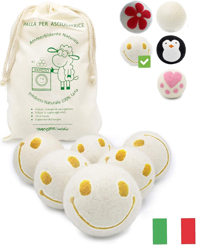 MGKolbe - Bolas para secadora, bolas de lana, perfumador de aceites esenciales, suavizante natural, hipoalergénico, perfume de baba, juego de 6 para prendas claras y seguras.